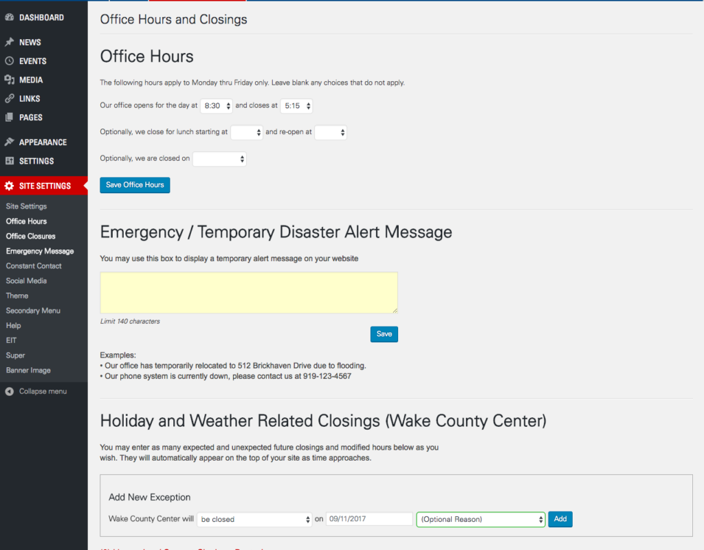 Screenshot of Site Settings page in WordPress Admin