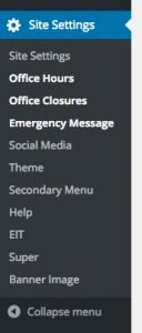 Screenshot of new wp-admin menu