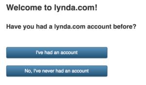 Lynda sign up screen image