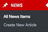 Screenshot of WordPress admin news menu before update.