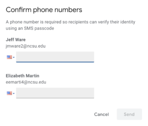 Confirm phone numbers window image