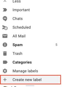 Create new label screenshot