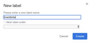 Eventbrite label screenshot
