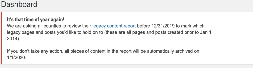 Image of the Old Content Review Tool Notification