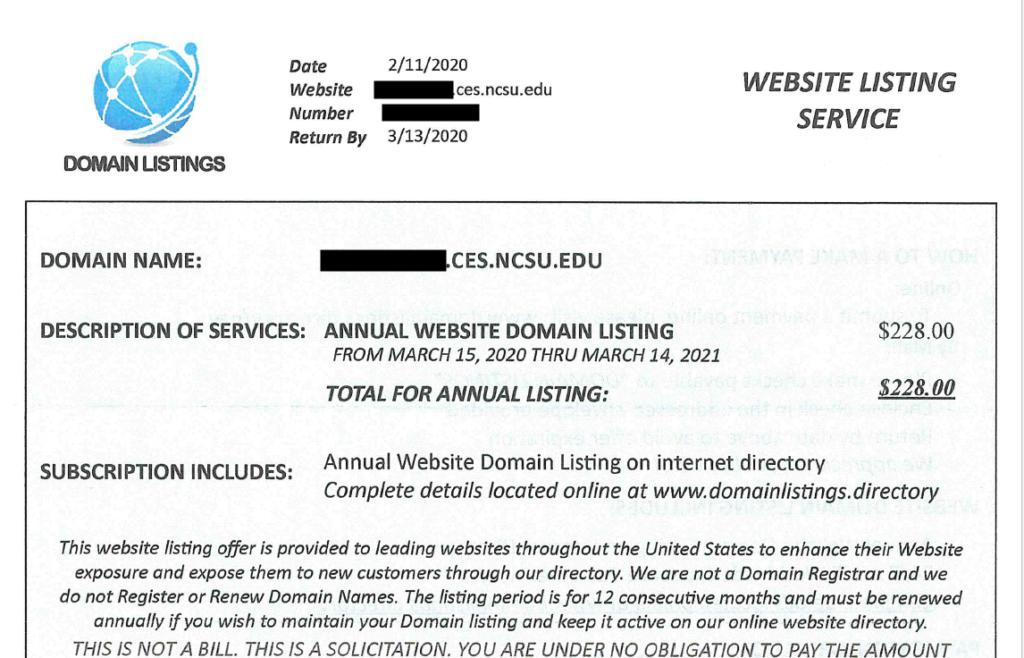 Website Listing Service Solicitation Letter