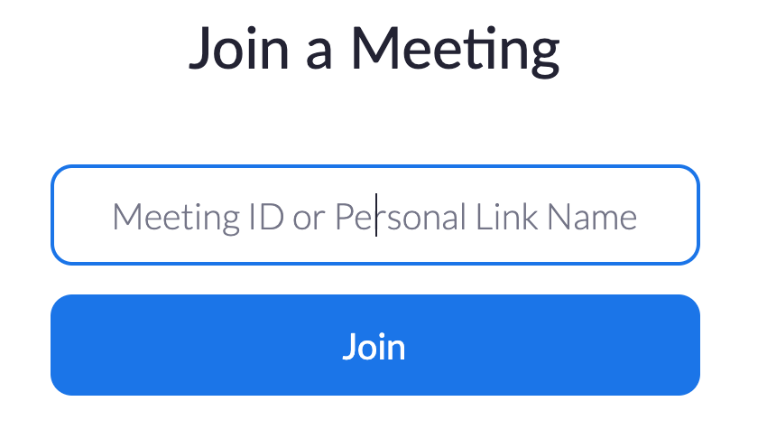 Joining a Zoom meeting with the Meeting ID