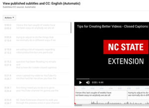 screenshot of YouTube captioning tool
