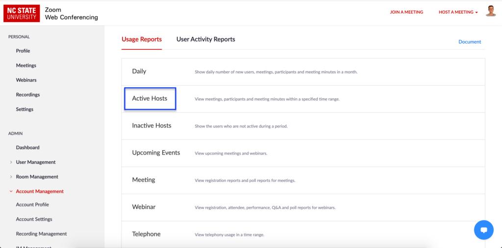 Zoom active hosts report menu item