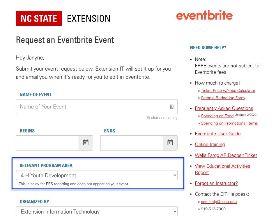 Eventbrite request form relevant program areas