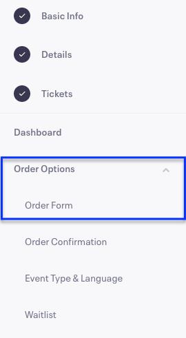 Eventbrite order options order form