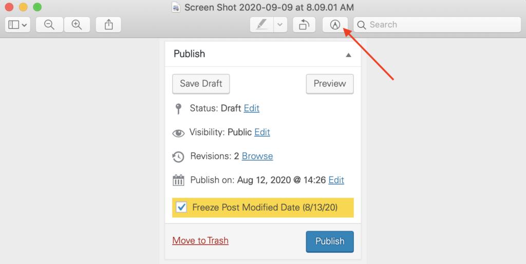 Markup toolbar