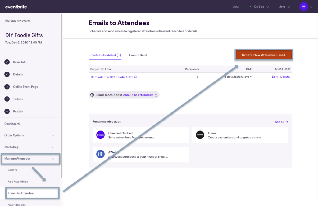 Eventbrite's Manage Attendees, Emails to Attendees page