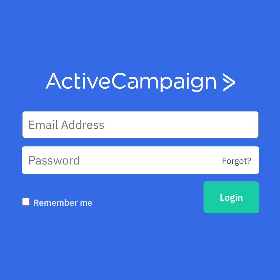 ActiveCampaign log in screen