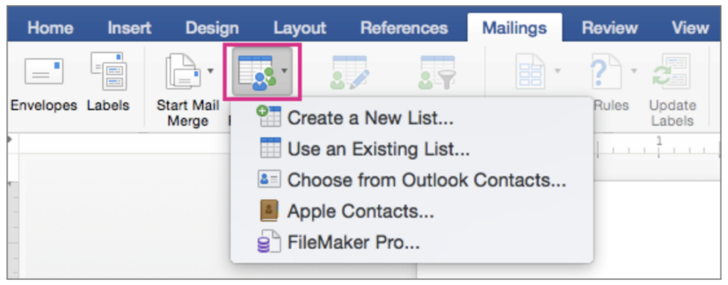 Use an Existing List option
