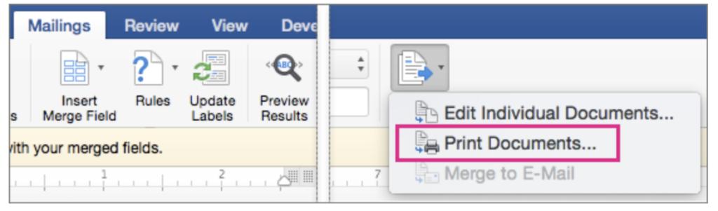 Print Documents option
